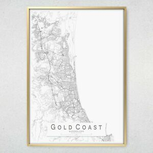 GOLD COAST Monochrome Map Print, Queensland Wall Art Poster City Wall Decor