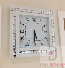 NEW White Crystal Bevelled Mirrored Glass Silver Square Wall Clock 45x45cm