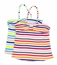 Girls Ex Zara Halter Vest Camisole Top Multi Colour Stripes Age 2 to 14 Years