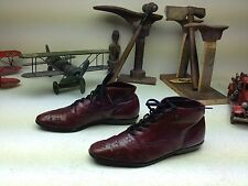 VINTAGE DISTRESSED BURGUNDY LACE UP GRANNY WING TIP BOOTS SIZE 5-7 M