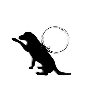 Labrador Dog With Paw Keyring Keychain Gift in Black