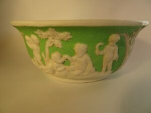 Victorian Pottery Bowl with Putti Decoration - Cherubs - Angels        #9415