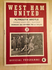 1961/62 LEAGUE CUP: WEST HAM v PLAYMOUTH ARGYLE - 1st Round, 11th September