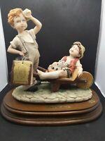 Capodimonte Style big L'Arte Nel Mondo 2 boys w/ dog Figurine Italy Collectible