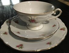 Oscar Schaller &Co. Bavaria, Western Germany Roses 3pc Cup Saucer Plate*
