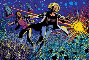 Doctor Who Art Print The 13th Doctor, Yaz and the Daleks by Scott Gray