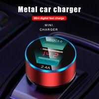 USB Dual Ports 2.4A Car Cigarette Charger Lighter Digital LED Voltmeter 24V/12V