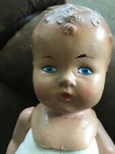 Antique Doll Molded Head Composition? New Body Painted Eyes