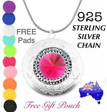 Pink Crystal Essential Oil Diffuser Locket 925 Sterling Silver Chain Necklace