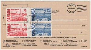 White Rock BC 1970 $2.40 postage due paid by high value Centennials on P.O. card