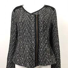 Mystree Asymmetrical Zip Textured Knit Moto Jacket Black White Size Medium