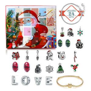 Christmas Advent Calendar DIY Charm Jewelry Hanging Ornaments Countdown 24 Days