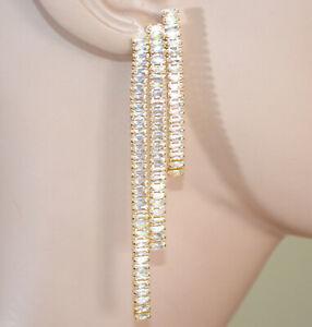 ORECCHINI ORO BEIGE donna cristalli fili pendenti lunghi strass ohrringe D10