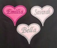 Personalised Embroidered Heart Name Badge / Patch  Iron on or sew