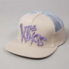 King Warriors Khaki Violet White Mesh Trucker Flat Peak Snapback Hat Cap