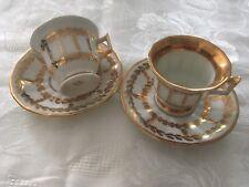 2 Tasses à Café Moka Blanc Et Or porcelaine de Limoges Raynaud & Cie