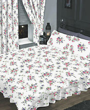 KING SIZE 4 PC COMPLETE SET FLORAL WHITE BLUE PINK LILAC ROSE FLOWERS LUXURY