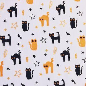 Bundle Remnant Polycotton Fabric 35 cm x 112 cm HALLOWEEN WITCH CAT STAR