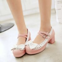 Women Round Toe Bowknot Block Heels Mary Jane Lolita Sweet Buckle Strap Shoes
