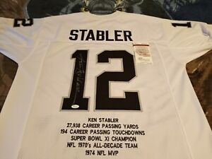 Kenny Stabler Autographed Oakland Raiders Stat Jersey, (RARE) JSA Witness