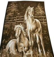 "Vintage Biederlack Germany Reversible Horse Throw Blanket 53"" X 77"""