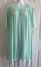 SHADOWLINE Peignoir Set Robe Gown Nightie Lace Nylon Floral Green Vintage Medium