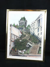 """Chateau Frontenac – Quebec"" Hand Colored 1930's Etching Signed"