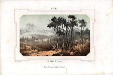 Stampa antica CUMA Lago d' Averno Napoli 1857 Old print