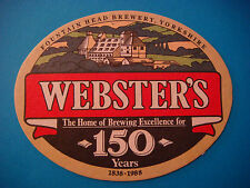 Beer Bar Coaster ~ WEBSTER'S Brewery ~ Brewed in the Pennines, ENGLAND 1838-1988