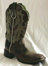 Womens Ariat Tombstone Square Toe Western Leather Boot Size 6.5B Brown Green
