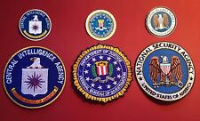 """U.S. SECURITY AGENCY PATCHES: 85mm  /3.25""""  NSA, FBI & CIA SET + STICKERS"""