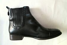 Tory Burch Black Leather Elasticized Sides Back Gold Stud Ankle Booties 8.5