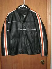 Bikers Dream Apparel Black Reflective Leather Jacket Men's XL Quilted Lining
