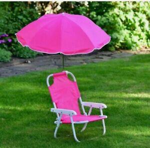 Pink Patio Furniture Chair Umbrella Kids Sun Lounger Seat Garden Parasol New.