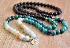 8mm Natural Jasper green Tassels 108 Beads Necklace yoga Mala meditation