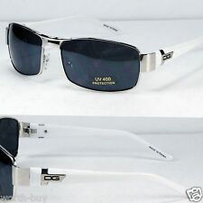 New DG Mens Rectangular Sunglasses Shades Fashion Designer Metal Silver White 30