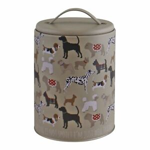 Metal Dog Print Storage Tin Dried Food Biscuits Treats Lidded Container 16.5cm