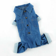 Pet Cowboy Clothes Dog Denim Jumpsuit Puppy Casual Blue Jacket Spring Apparel