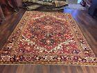 Genuine Hand Knotted Vintage Heriz Serapi Area Rug Geometric Carpet 8x11ft,1654