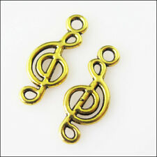40Pcs Antiqued Gold Tone Music Note Charms Pendants 7.5x19.5mm