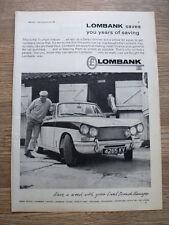 Triumph Vitesse-Lombank 1964 VOITURE PUB Poster-pleine page original 11 X 8 In (environ 20.32 cm)