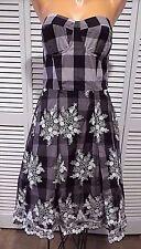 Eva Franco Women Black White Gray Doughert Gingham & Lace Bustier Dress sz 10