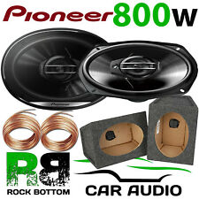 """Pioneer 800 Watts a Pair 3-Way CAR VAN 6""""x9"""" Speakers & 6x9 GREY Pod Box PAIR"""