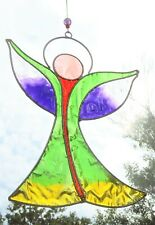 MULTI COLOUR ANGEL SUN CATCHER 18cm STAINED GLASS EFFECT