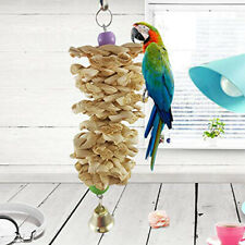 Bird Parrot Toys with Bell Wooden Grass Chewing Bite Toy Swing Climb Hanging Toy