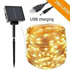 Opard Solar String Lights 200 LED 72ft USB Plug & Solar-Powered Copper Wire