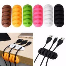 5 Agujeros Escritorio Organizador Cables Silicona Cargador Cable Soporte Clip