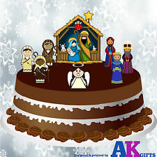 """Nativity Set Scene Edible Wafer Cake Toppers Decorations For 7"""" to 10"""" Cake"""