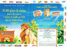 PUBLICITE ADVERTISING 056  1994   Nestlé concours Film le Roi Lion Disney (2p)