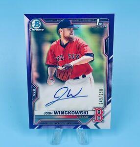 Josh Winckowski 2021 Bowman Chrome Blue Refractor Auto /250 1st Prospect Red Sox